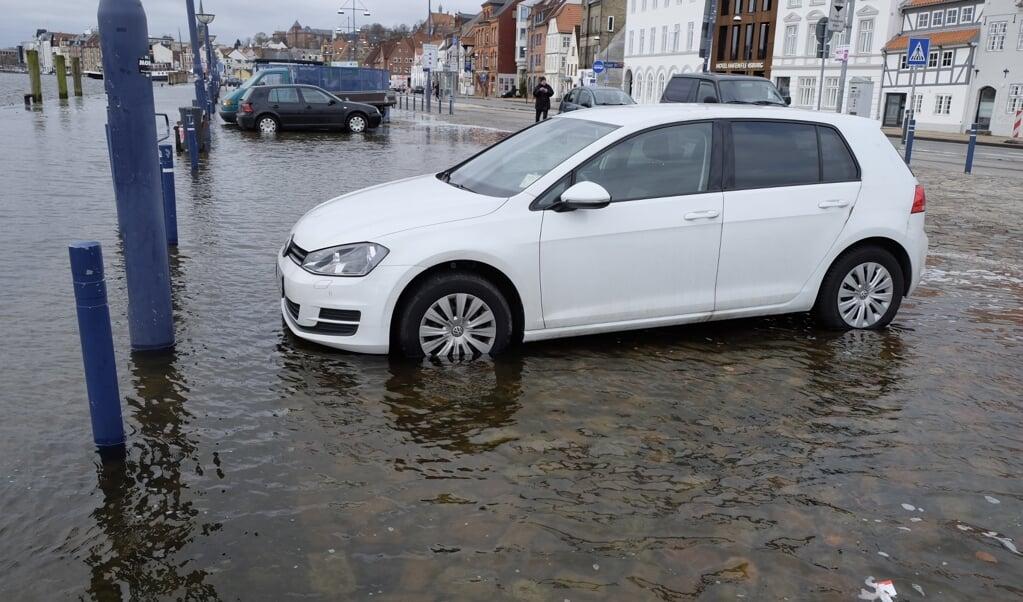 I marts 2018 førte stigende vandstand i fjorden til oversvømmelse af Flensborg Havn. I fremtiden kan det blive et oftere forekommende fænomen.  (Arkivfoto)