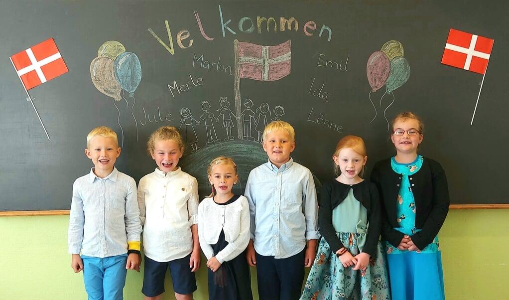Den nye 1. klasse på Treja Danske Skole.  (Privatfoto)