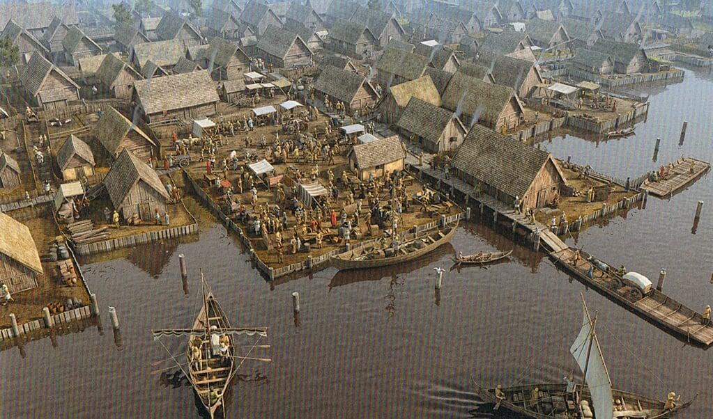 Rekonstruktion af havnen i byen Slesvig omkring år 1100.  (Illustrationen er taget fra bogen.)