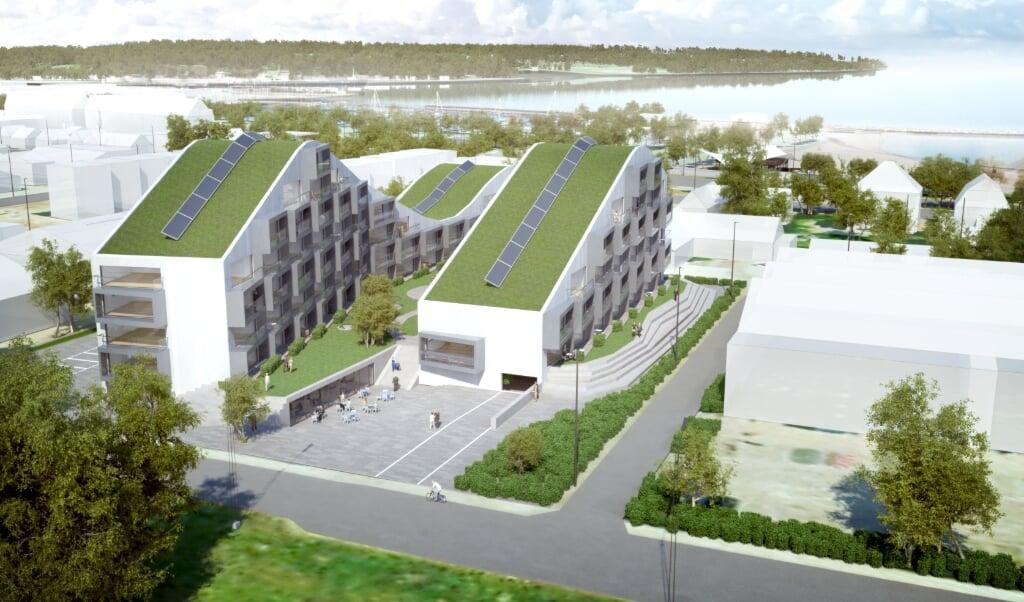 På de oprindelige tegninger til boligerne er der græs på taget, men det har vist sig, at det ikke er optimalt i Danmark i syv etagers højde. Græsset kommer ikke, men det bliver stadig et muret, bølgeformet byggeri. Illustration:   (BoligSyd, JydskeVestkysten)