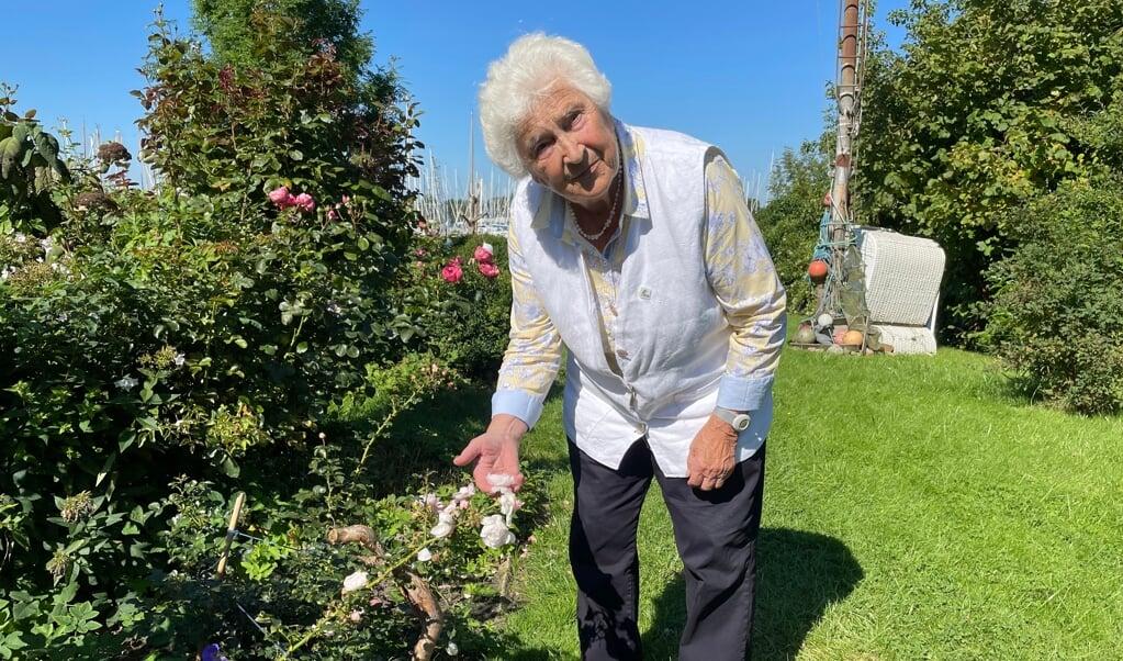 Lieselotte Wiese i sin have, som hun langt om længe og ad omveje fik anskaffet en Genforeningsrose til.  ( Trine Flamming)