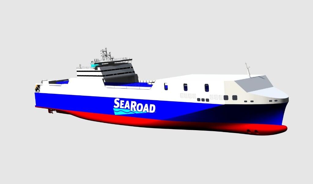 Den nye færge bliver 210 meter lang og knap 30 meter bred. Grafik:  (FSG)