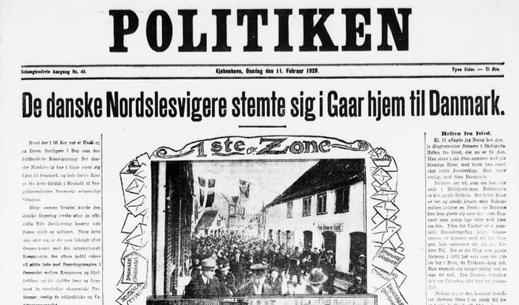 Billedet på denne forside af Politiken 11. februar 1920 har en dramatisk forhistorie.   (Museum Sønderjylland)