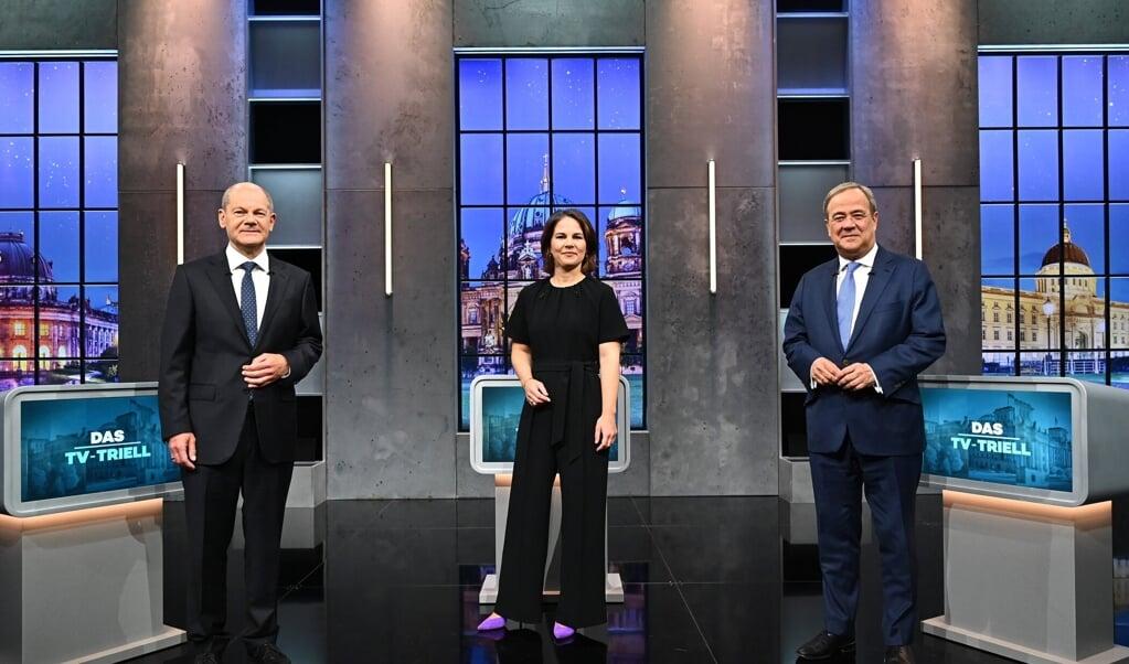 For sidste gang mødtes Olaf Scholz, Annalena Baerbock og Armin Laschet til tv-duel. Copyright: Seven.One/Willi Weber.  (obs)