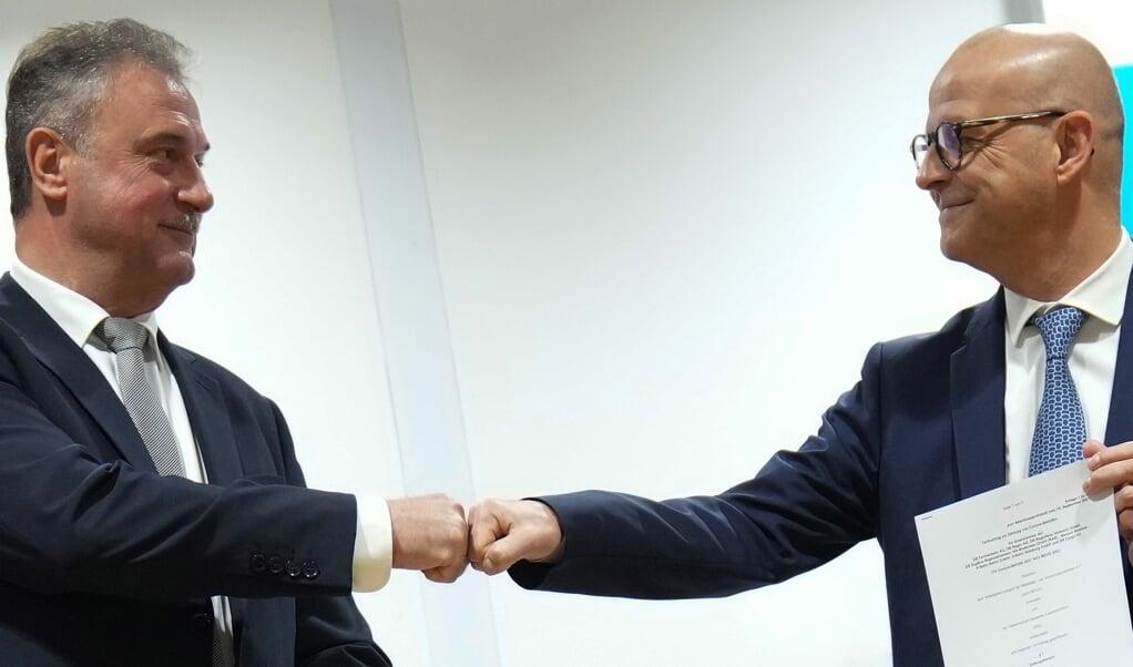 GDL-formand Claus Weselsky og Deutsche Bahns personaledirektør Martin Seiler.    (Kay Nietfeld/dp)