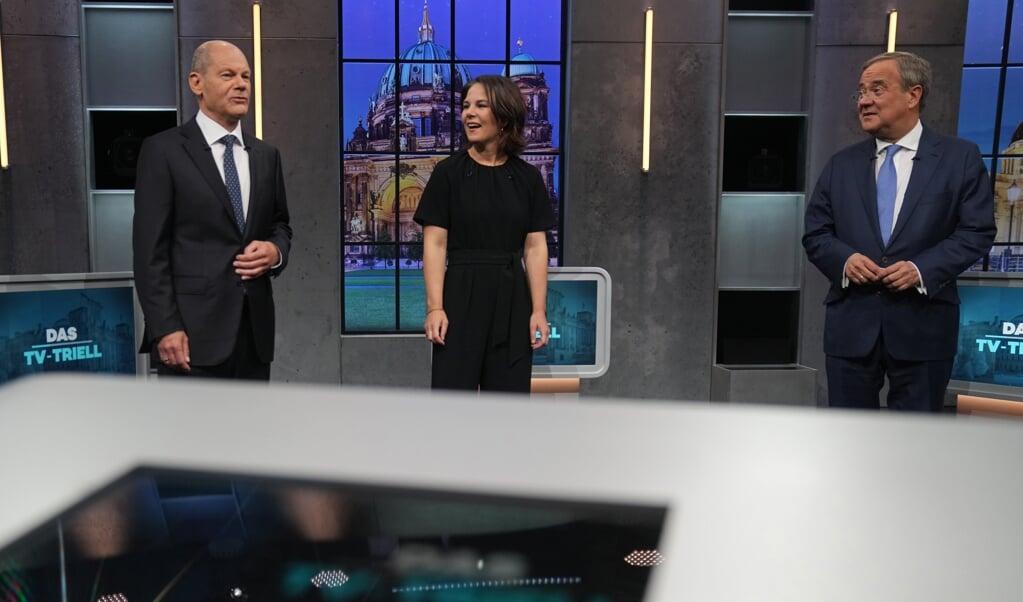 Die Spitzenkandidaten Olaf Scholz (SPD), Annalena Baerbock (Die Grünen) und Armin Laschet (CDU/CSU) trafen sich Sonntag Abend zum dritten und letzten TV-Triell bei ProSieben und Sat.1.    (Kay Nietfeld/dpa)