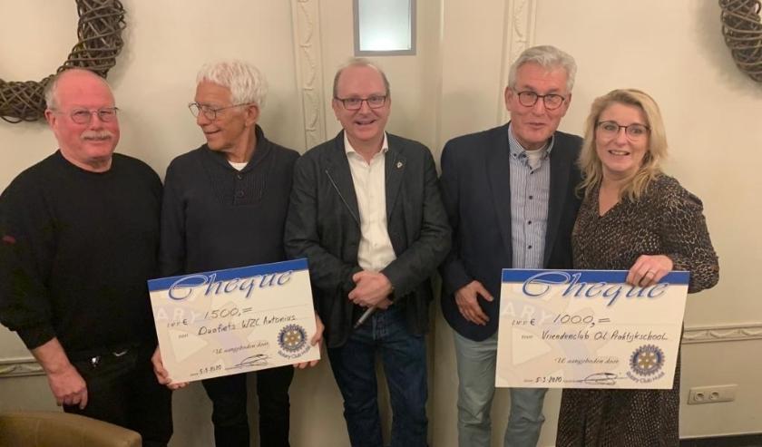Rotary Hulst doneert 1500 euro als bijdrage voor de aankoop van een elektrische duo fiets aan WZC Anthonius Kloosterzande. En doneert 1000 euro aan Stichting Vrienden van de Praktijkschool Hulst.