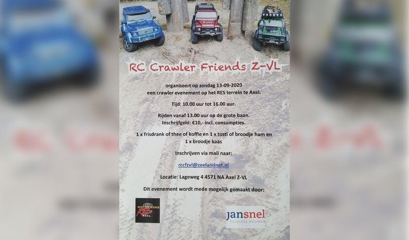 RC Crawler Friends Z-VL houdt zondag 13 september een crawler event op het RES terrein aan de Langeweg 4 in Axel.