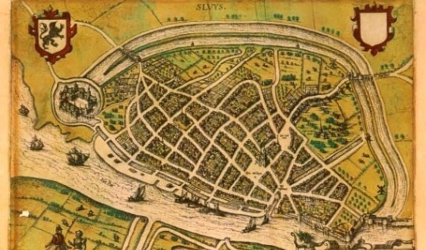 Een oude kaart van Sluis.