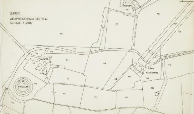 Kaart van 'Heerlijkheid Burgst' uit 1894