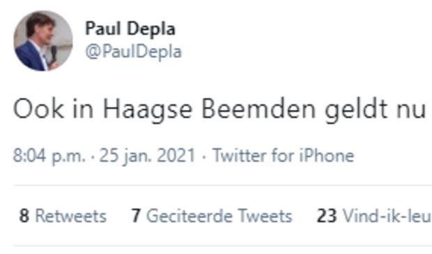 <p>Burgemeester Depla maakt noodverordening bekend voor de Haagse Beemden.</p>
