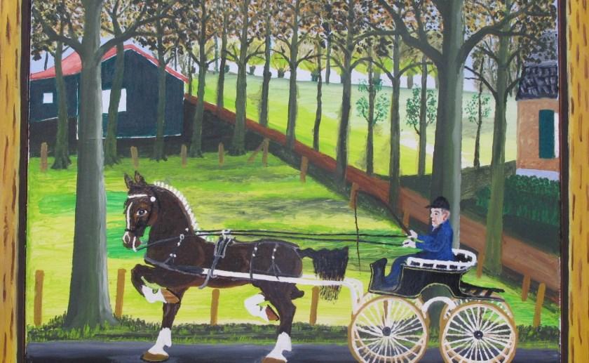 Schilderij 'Uit Rijden' van boer en schilder Janus Bressers uit Liempde, horend tot de stroming van naïeve kunst (foto MUBO).