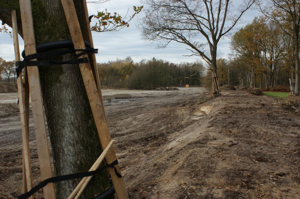 De in 1954 gegraven Heiloop nabij Banisveld is gedempt. De grond is onder meer afkomstig van de aarden wal die (rechts) naast de watergang ligt. Grote bomen blijven staan en worden tijdens de werkzaamheden beschermd. (Foto: Marc Cleutjens). Foto: Marc Cleutjens ©