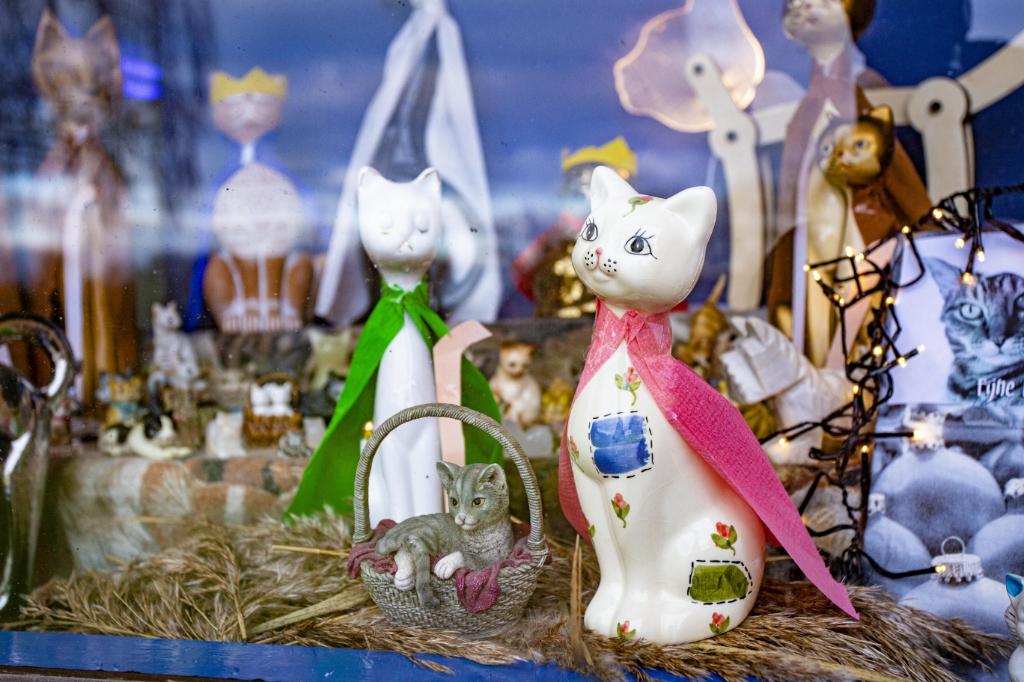 <p>Maria en Jozef in poezengedaante. Jezus ligt nu eens niet in een voederbak, maar in een rieten mandje. Hij kijkt met heldere blik de wereld in. Het kitten lijkt overigens niet erg op zijn ouders, die allebei voornamelijk wit zijn. Wellicht de invloed van de heilige geest. (Foto&#39;s: Bas van den Biggelaar).</p> Foto: Basman Creëert - Bas van den Biggelaar ©