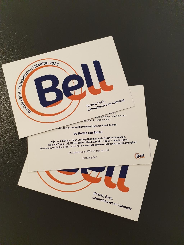 <p>De (kerst)kaarten die stichting BELL volgende week gaat uitdelen verwijzen naar de uitzending van de film, later die avond. (Foto: Rens van den Elsen).</p> Foto: Rens van den Elsen ©