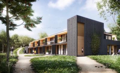 <p>Impressie van het appartementencomplex bouwbedrijf Heijmans met Faam Architects uit Eindhoven ontwikkelde voor de Boxtelse woonstichting. De 22 duurzame en sociale huurwoningen worden gebouwd aan de straat Munselse Hoeve, op het terrein van De Kleine Aarde in Boxtel. (Afbeelding: eigen collectie).&nbsp;</p> <p>Foto: Faam Architects</p> ©