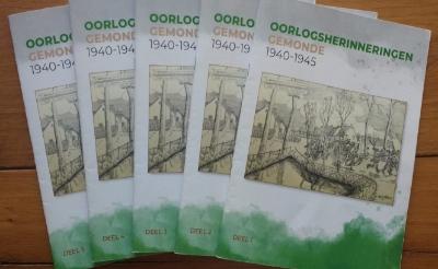 De omslagen van de vijfdelige reeks Oorlogsherinneringen Gemonde 1940-1945.