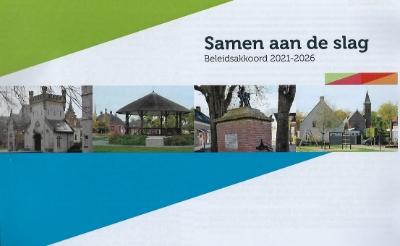 Omslag van het beleidsakkoord 2021-2026  dat de fracties van Balans, Combinatie95 en INbox uit de Boxtelse gemeenteraad sloten.