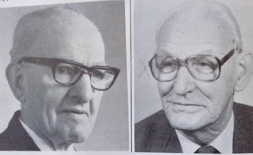 <p>Janus Nooren (links) en Marinus Hazenberg werden in het zonnetje gezet toen ODC zijn veertigjarig bestaan vierde. (Foto&#39;s: eigen collectie).</p>