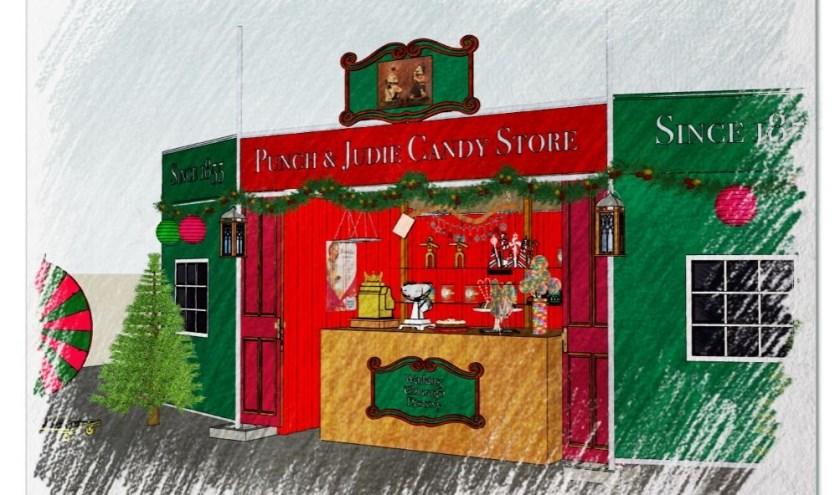 De schets van de 'Old English Candyshop' die te zien zal zijn.