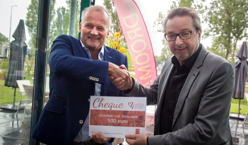 Erik Langedijk (L) overhandigt de cheque aan Ger Loeffen (R)