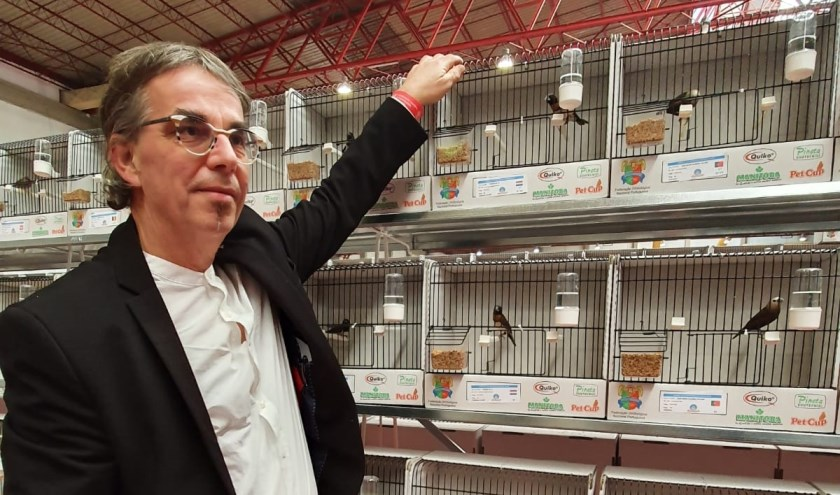 De trotse winnaar bij zijn gouden vogels.