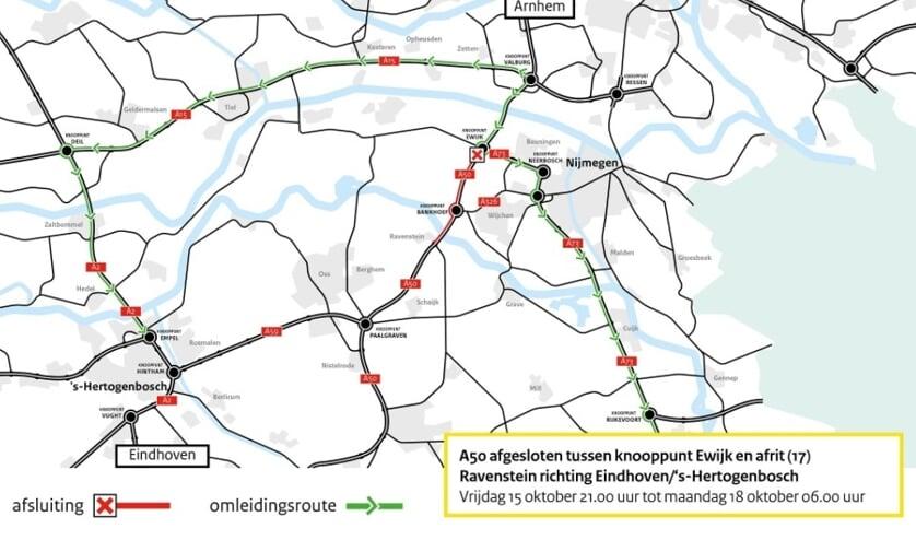 wegafsluiting tussen knooppunt Ewijk en Ravenstein