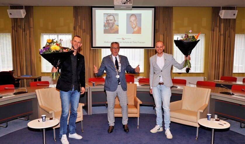 <p>Vincent ter Schure, wethouder Piet de Klein, Timo Fransen</p>