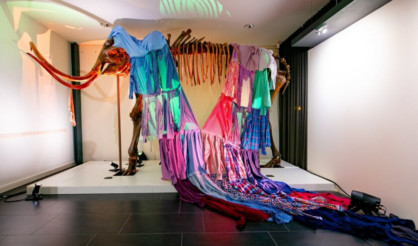 'Aangeklede' mammoet, onderdeel van de tentoonstelling Metamorfose.