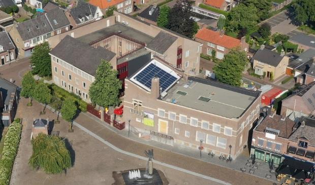 <p>Een luchtfoto van de locatie</p>