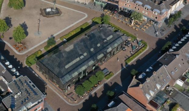 De Glazen Boerderij op de markt vanuit de lucht. Foto: Stef Zant Stef Zant © mooischijndel