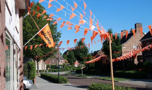 <p>Oranje versieringen in de Harry Bolsiuslaan in Schijndel</p>