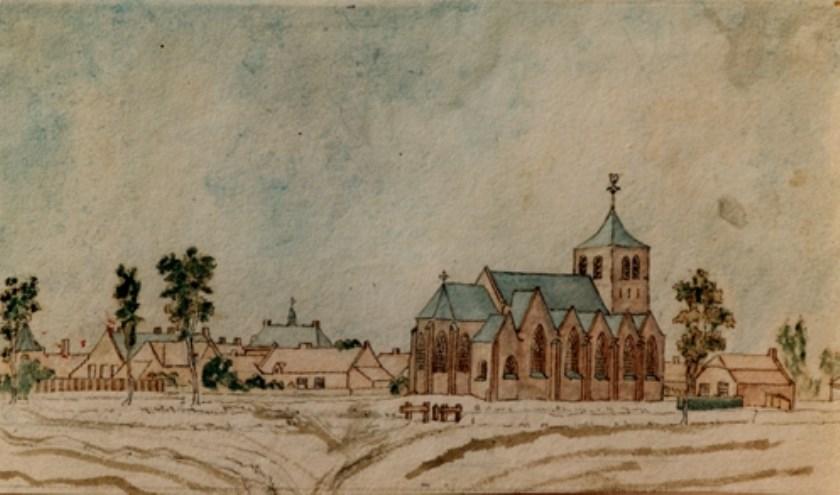 Gezicht op Budel in 1829