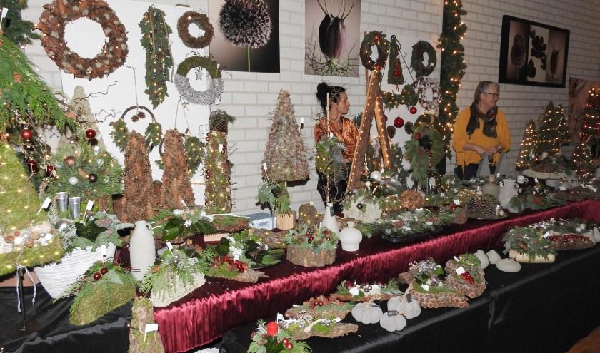 Er waren creatieve kerststukken maar ook sieraden en heel veel lekkers