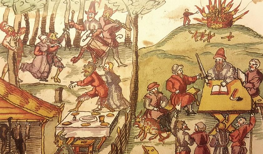 Zestiende-eeuwse prent waarop te zien is hoe heksen feest vieren met de duivel, door de rechtbank worden veroordeeld en ter dood worden gebracht op de brandstapel.