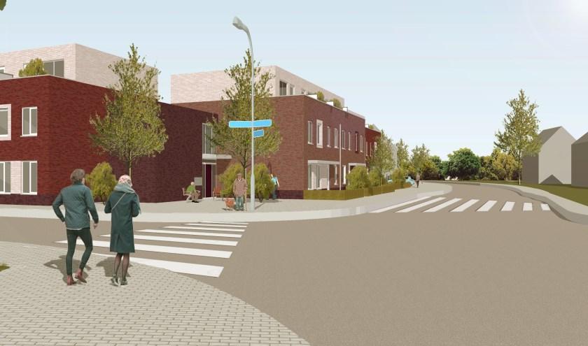 Een art-impression van het nieuwe wijkje op de hoek van de Nieuwstraat en de Van Houtstraat