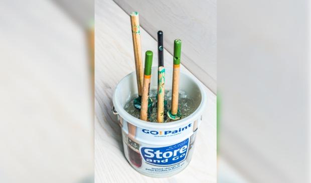 Go!Paint: De gel moet onder meer het hard worden van de kwast voorkomen. Met zo'n gel is de kwast beter schoon te maken en te onderhouden.