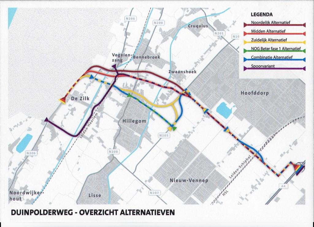 De verschillende alternatieven voor de Duinpolderweg. Provincie Zuid-Holland © BDU media