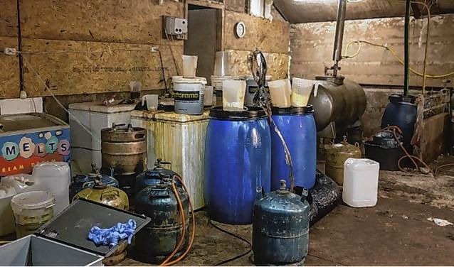 In februari dit jaar trof de politie een drugslab aan in een loods aan de Valkseweg, buiten Barneveld.