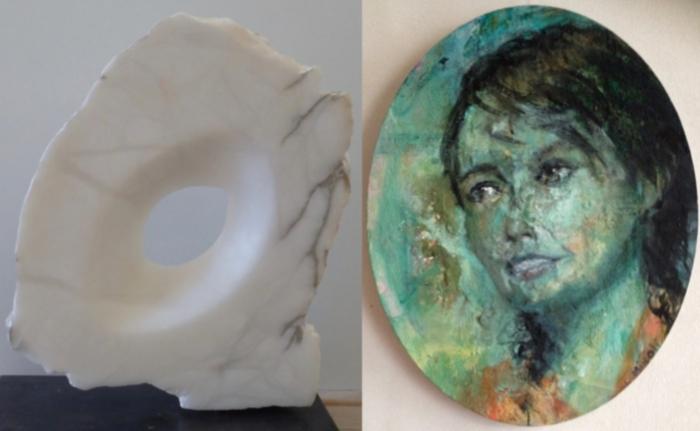 Een beeld en een schilderij