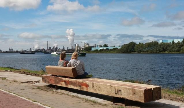 Rauwe bank, gemaakt van hardhouten palen die horen bij de steigers en losplaatsen van havenplaats IJmuiden.