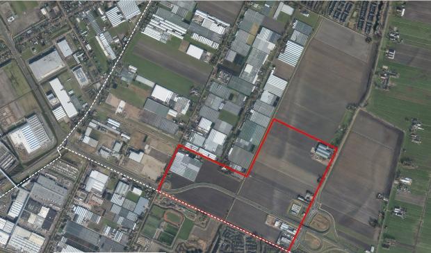 Luchtfoto van toekomstig bedrijventerrein Zuid.