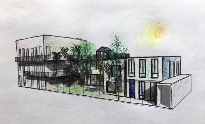 Schets van het ontwerp het groene hofje