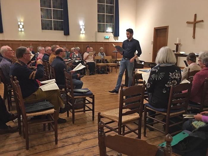 Koorrepetitie olv Anthony Scheffer. 14 november 2018, NPB-kerk, Kampstraat 8 te Baarn
