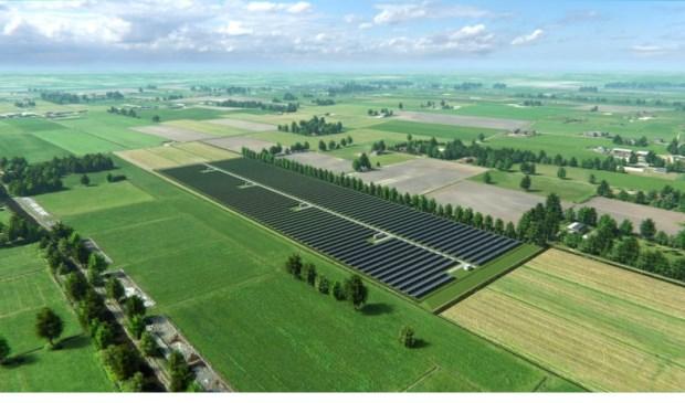 Voorbeeld van landschappelijk inpassing van een zonneveld, te zien op www.zonneveldenbunnik.nl