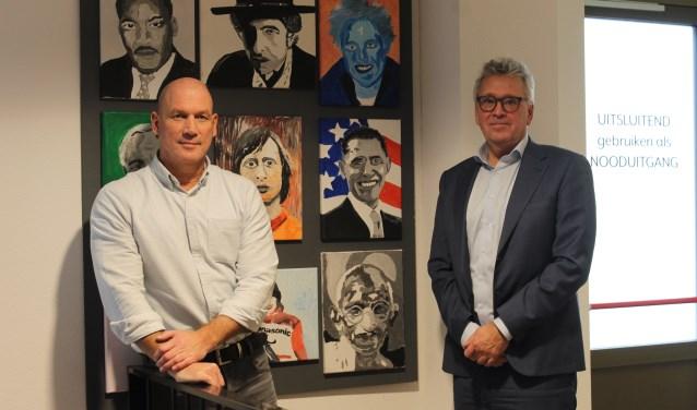 Gert Broekhuizen (links) en Gerrit-Jan Weiler van Voilà (verschillend onderwijs in Leusden Achterveld). ,,Je moet een leerkracht niet zijn autonomie afpakken.''