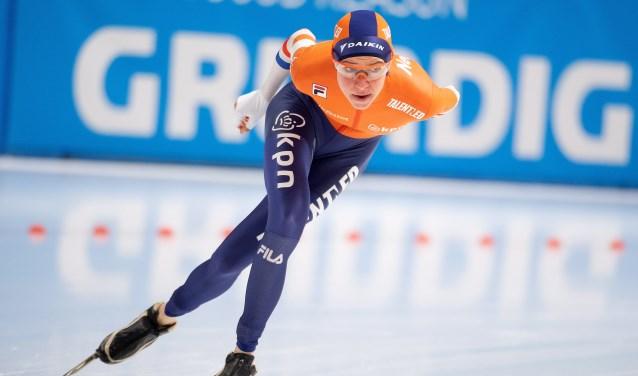 Esmee Visser op weg naar de zege op de 5.000 meter in Polen.