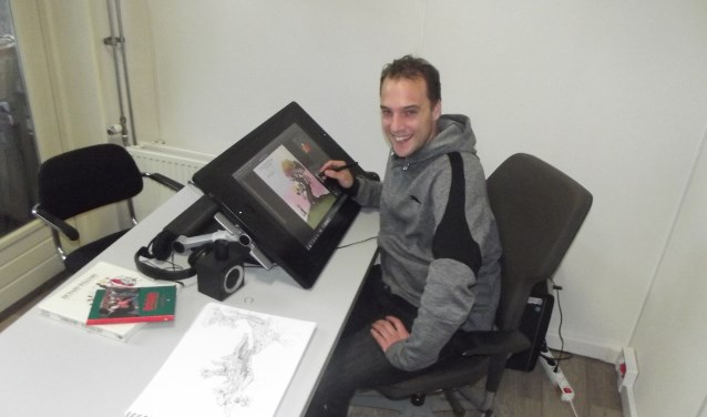 Animator en illustrator Jesse Boom gebruikt zijn beeldscherm alsof hij met papier en inkt werkt.