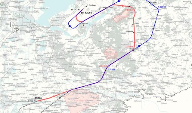 Archieffoto van de belevingsvlucht eerder dit jaar. De route onder Rhenen, tussen Wageningen/Renkum en langs Ede is gepland op 2740 meter hoogte.
