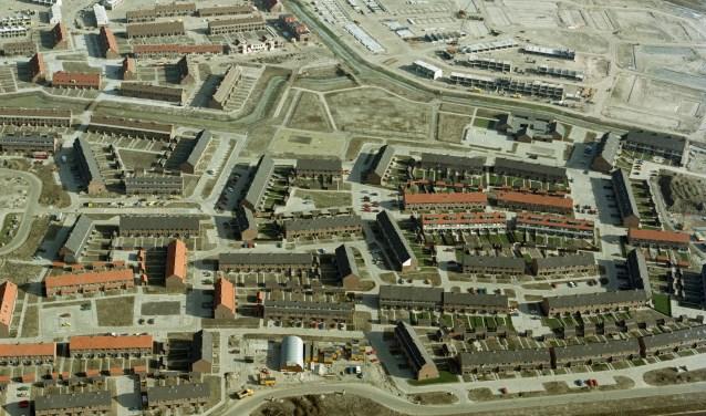De bouw van de wijk De Haag rond 1983.
